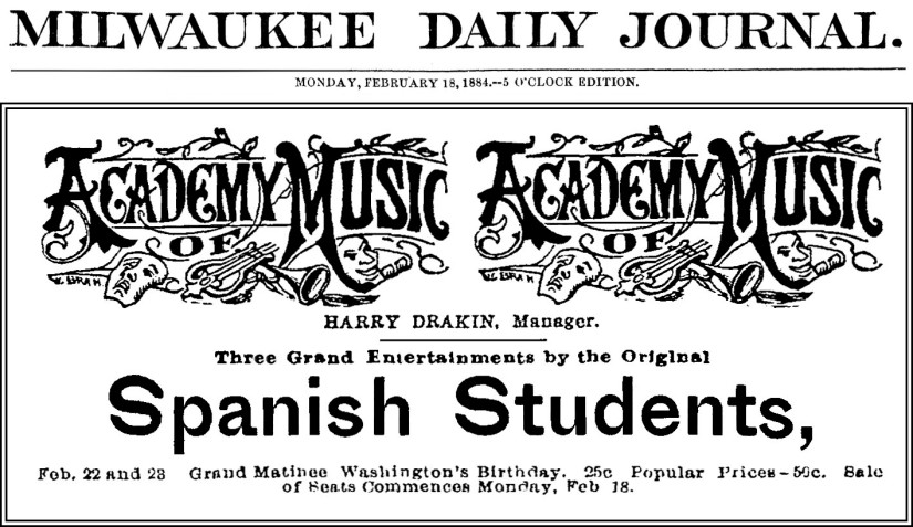 1884-02-18 Milwaukee Journal, p4 - Academy of Music w Journal banner